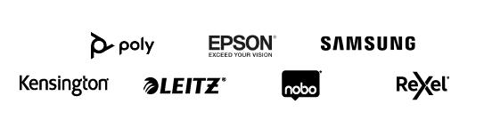 I brand di Work From Home: Poly, Epson, Samsung, Kensington, Leitz, Nobo, Rexel
